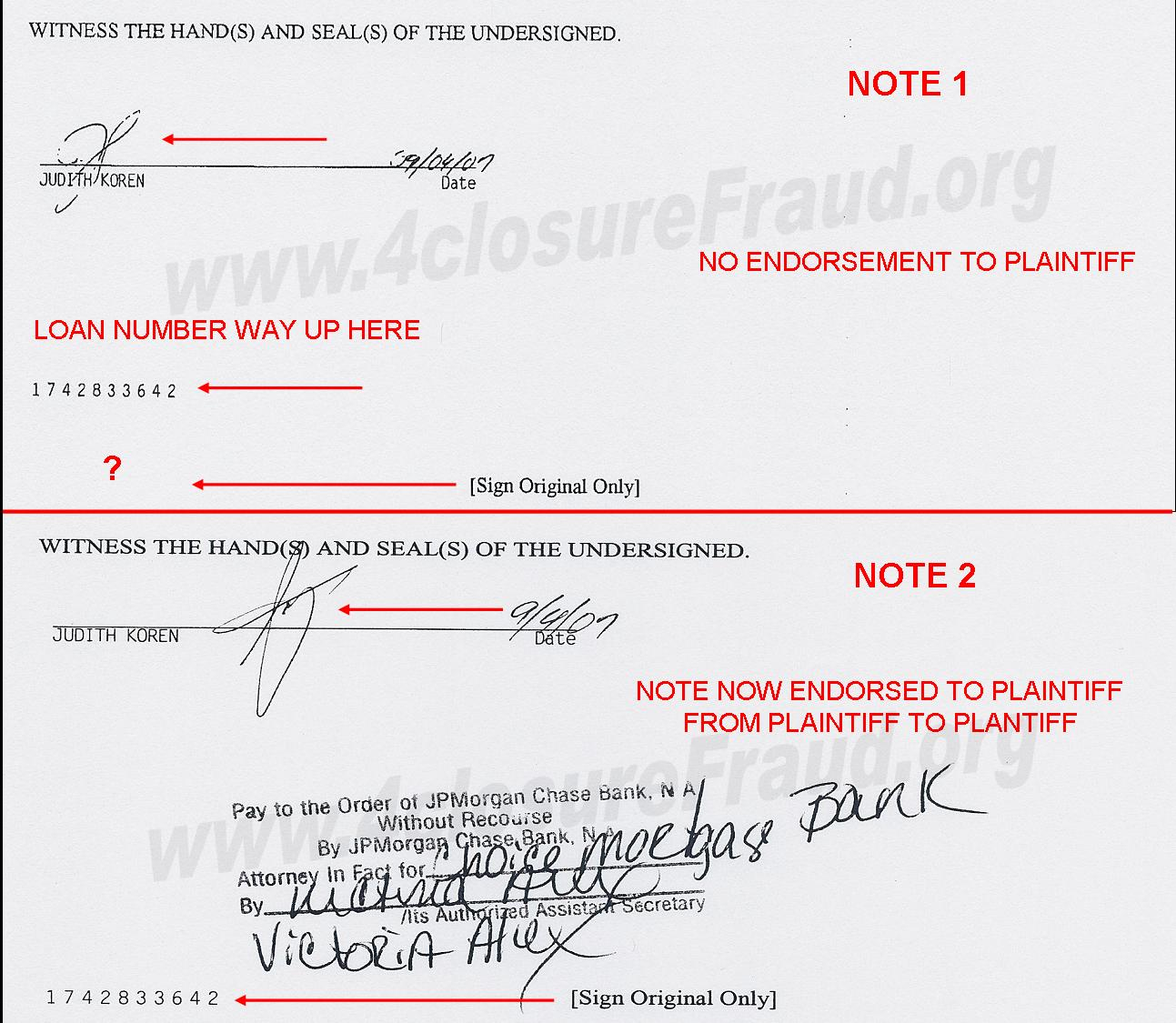 Foreclosure fraud of the week two original wet ink notes last page of notes 1betcityfo Choice Image