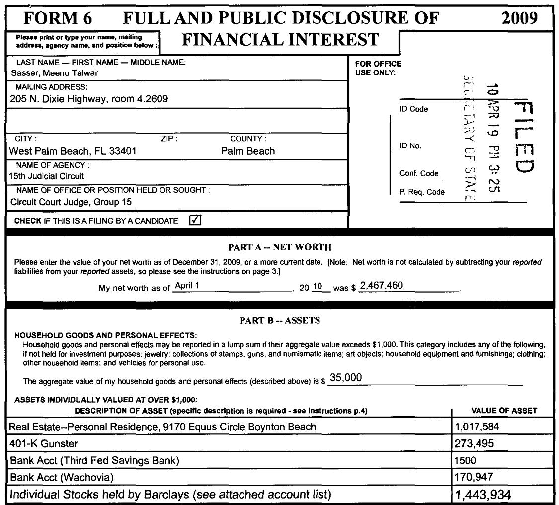 Sasser Companies Inc: » FULL AND PUBLIC DISCLOSURE OF FINANCIAL INTERESTS